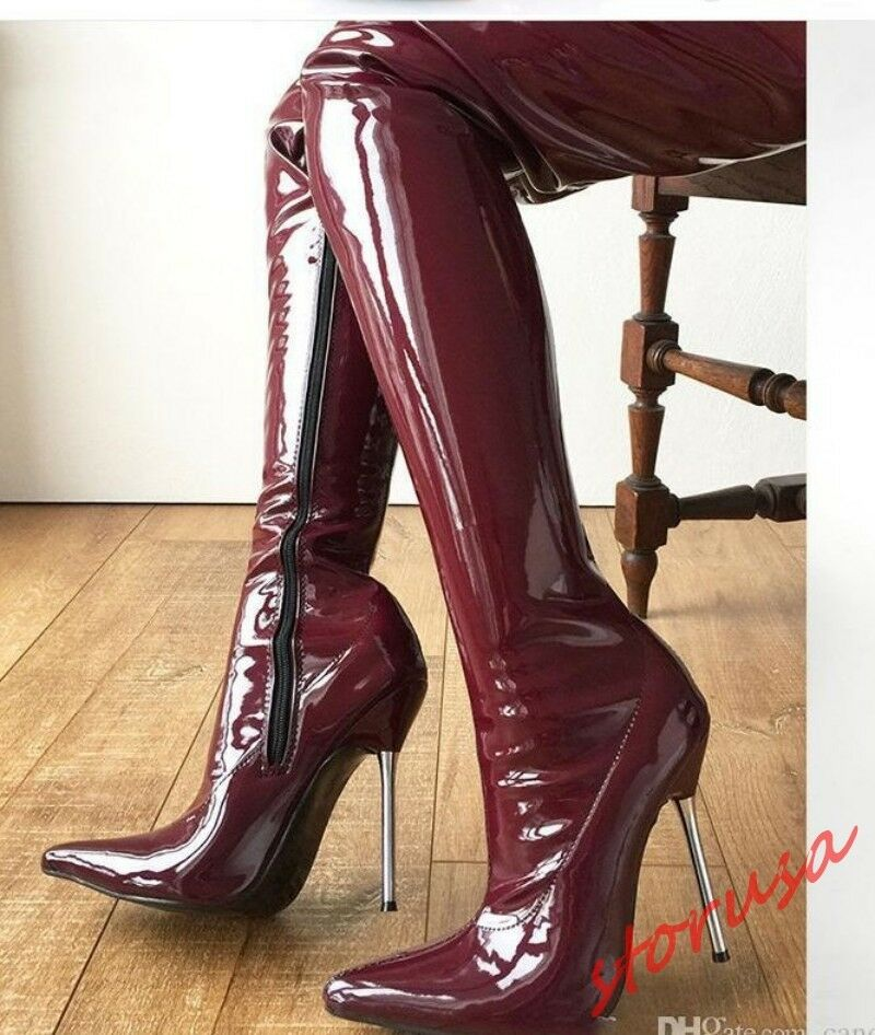 compra meglio Patent Leather Pointy Pointy Pointy Toe donna Over The Knee Thigh High stivali High Heel scarpe  buon prezzo