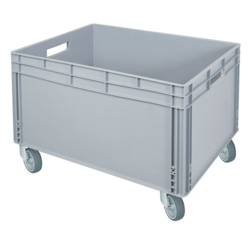 LxBxH 800 x 600 x 545 mm Stapelbehälter mit 2 Durchfassgriff und 4 Rollen grau