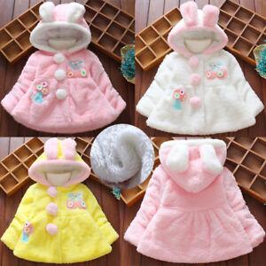 d85e449f0 Image is loading Newborn-Baby-Infant-Girls-Winter-Hooded-Coat-Cloak-