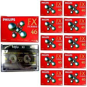 10-PHILIPS-BLANK-CASSETTE-AUDIO-TAPES-HIFI-CAR-RECORDER-FX-FERRO-46-HIGH-QUALITY