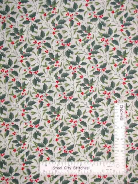 Springs Christmas Holly Berries Berry Fabric 3 Yards Quilting Cotton Beige F14