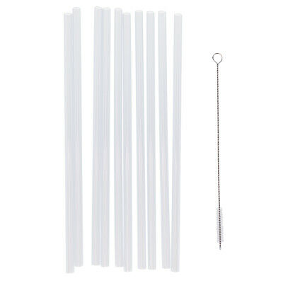 50x Reusable Clear Hard Plastic Straws 5 Cleaning Brush Wedding Party Decor
