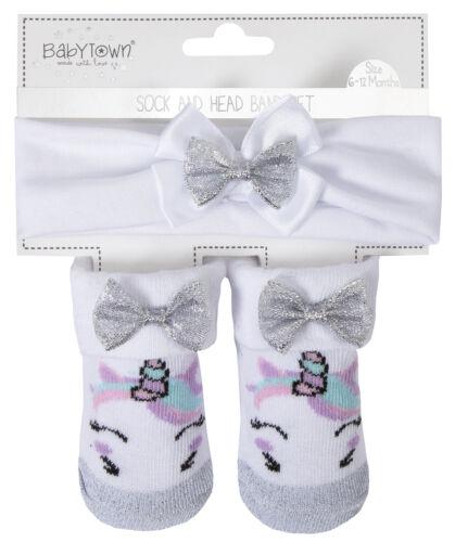 Baby Girls Headband Socks Gift Set Unicorn Glitter Bow Cute Babies Booties