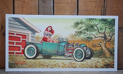 SIGNED KEITH WEESNER PINUP PRINT HOT ROD VTG STYLE MID CENTURY MODERN ART POSTER