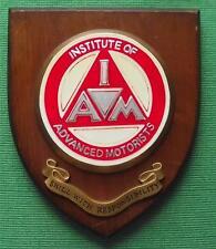 Genuine Vintage Wall Shield Plaque Crest  Institute Advanced Motorists