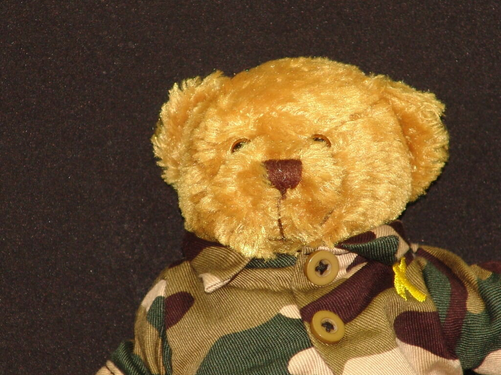 GOD BLESS AND BRING OUR TROOPS HOME YELLOW RIBBON CAMOUFLAGE PLUSH TEDDY BEAR PLUSH CAMOUFLAGE c1788c