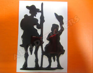 Pegatina-Don-Quijote-y-Sancho-Panza-3D-Relieve-Color-Negro
