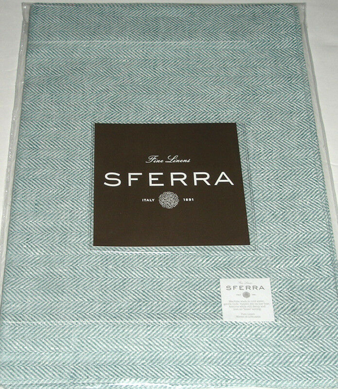 Sferra CHEVRON PLACEMATS Sea Foam Set of 4 European-Woven Pure Linen 15x20  New