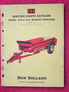 1962 NEW HOLLAND MODEL 470 & 475 MANURE SPREADER PARTS CATALOG MANUAL