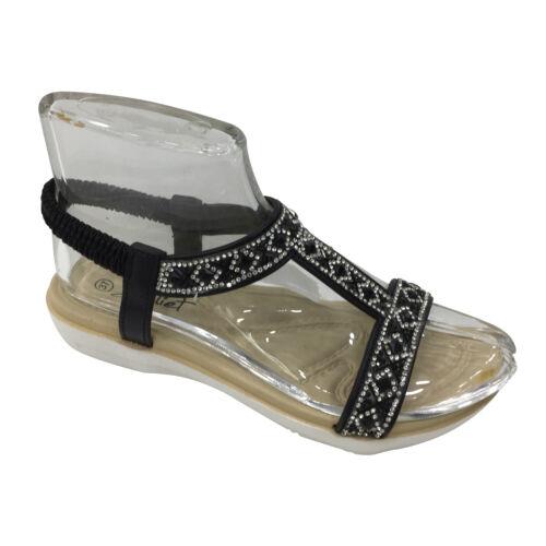 Sandales Paillettes Femmes Neuves Sandales Plat Bride Fleurs D/'été Chaussures l12
