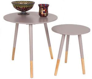 Designer Beistelltisch Rund 2er Set Grau Holz Tisch Retro