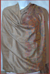 All-over-floral-design-Pashmina-Silk-blend-Shawl-Stole-Wrap-beige-from-India
