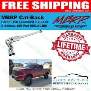 MBRP S5260409 3 Single Side Dual Outlet in Front of Rear Wheel T409, Cat Back