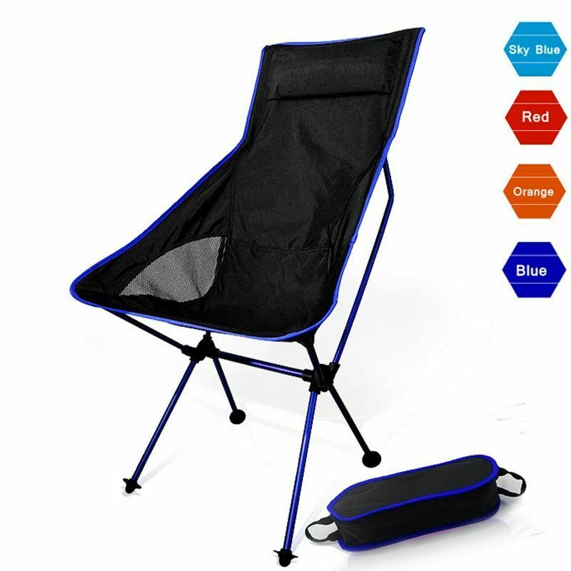 Portable Moon Chair Collapsible Fishing Camping Bbq Stool Folding Extended Sitz