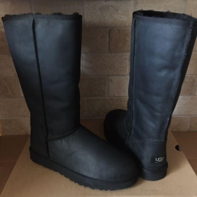 ugg women s black nubuck leather tall shani boots size 11 ebay rh ebay com