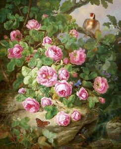 Home-Deco-Print-Oil-painting-Still-Life-flower-Floral-Camellias-on-canvas-L036