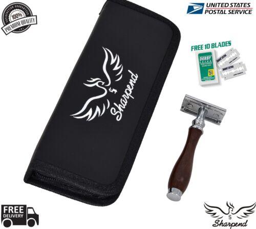 Dark Wood Men Safety Razor Double Edge Razors 10 Free Blades /& Pouch travel kit