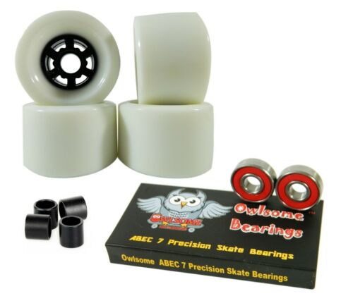 ABEC 7 Bearings Owlsome Pro 97mm Longboard Baby White Flywheels Spacers