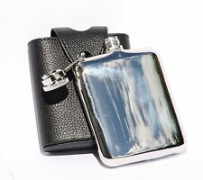 6oz Stainless Steel Hip Flask in Black Leather Case FREE ENGRAVING Gift Boxed
