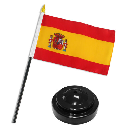 "Premium Polyester Spain 4/""x6/"" Flag Desk Set Table Stick Black Base"