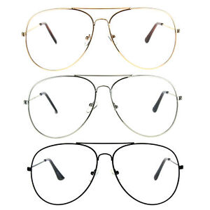 f012a0bf8 Image is loading Mens-Metal-Rim-Oversize-Officer-Clear-Lens-Eye-