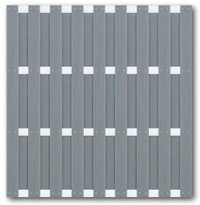 WPC-Sichtschutz-Zaun-Element-180-x-180-cm-Dichtzaun-grau-Alu-Riegel