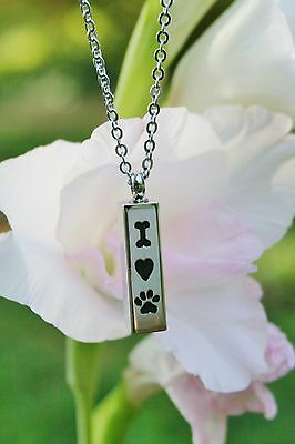 PRIORITY SHIPPING! GIFT WRAP! Dog Bone Heart Paw Cremation Pendant Urn NECKLACE