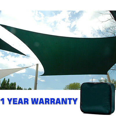 Quictent 5M X 4M GREEN GARDEN SUN SHADE SAIL CANOPY 96% UV PATIO AWNING W ROPE