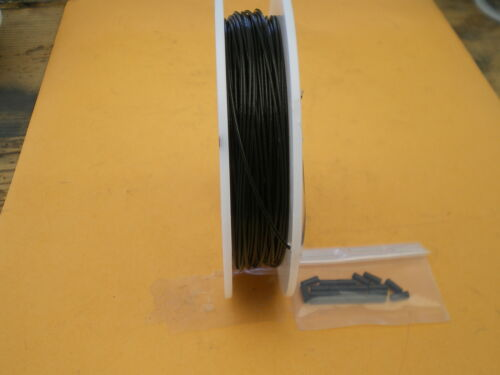 45 m. 40 LBS TEST 1X7 STRAND STAINLESS STEEL BLACK WIRE LEADER 150 FEET