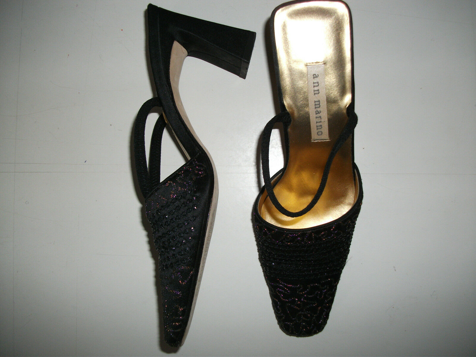 Women's stunning leather & fabric evening, dress, cocktail high heeled shoes  6m