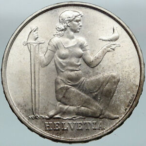 1956 SWITZERLAND -  HELVETIA SWISS Nation ARMY FUND Silver 5 Francs Coin i88326