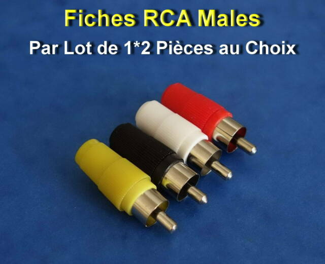 *** LOT DE 1 - 2 OU 4 FICHES RCA MALES - 4 COULEURS DISPO - NEUVES ***