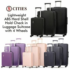5-Cities-4-Wheel-Hard-Shell-Hand-Cabin-amp-Hold-Check-in-Luggage-Suitcase-amp-Sets