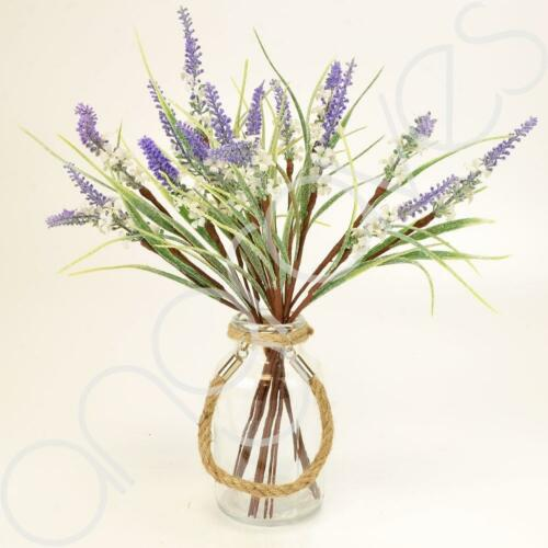 Glittered Frosted Lavender Purple Artificial Flower Arrangement With Glass Vase