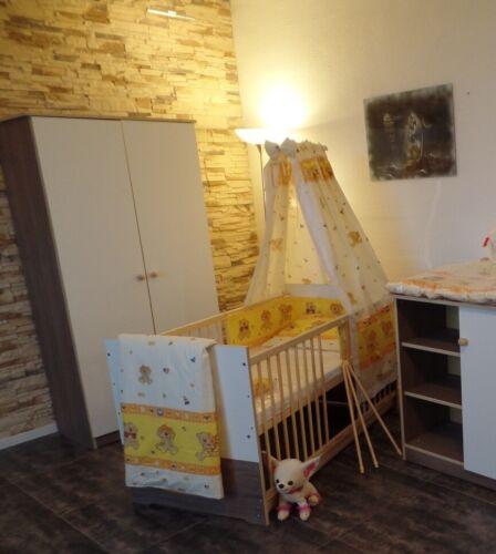 Babybett Komplett Set Gitterbett Juniorbett 5Farben UMBAUBAR 70x140 Braun-Weiß