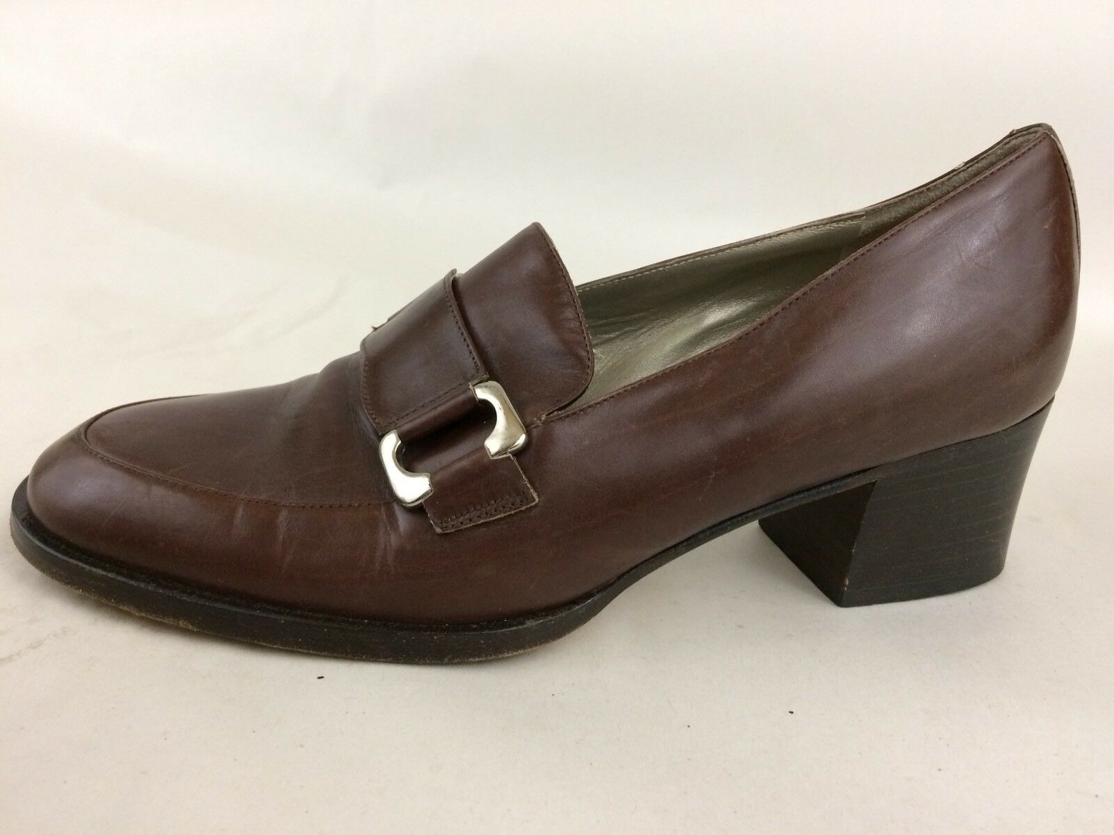Cole Haan  Womens 6.5 Med Brown High Heel Loafer Moc Toe shoes Leather Belt