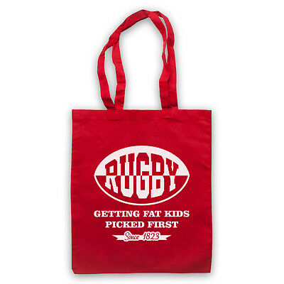 RUGBY GETTING FAT KIDS PICKED FIRST FUNNY SLOGAN COMEDY SHOULDER TOTE SHOP BAG