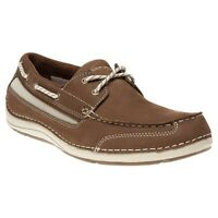 New Mens Rockport Brown Shoal Lake Two Eye Leather Shoes Boat Lace Up