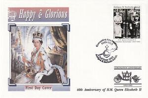 (29243) Antigua Et Barbuda Fdc Reine Couronnement 40 Ans 1993-afficher Le Titre D'origine