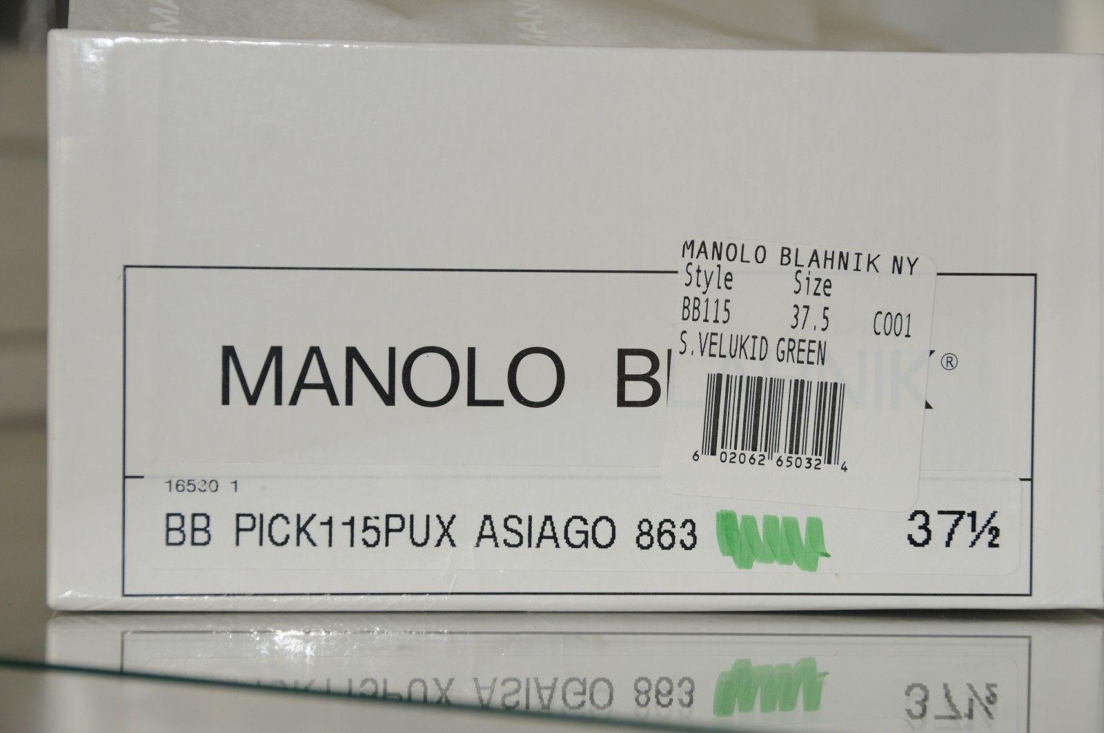 New Manolo Blahnik Blahnik Blahnik BB 115 Green Suede shoes Heels Pump 37.5 41.5 RARE  HEIGHT 6f73aa