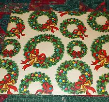 VTG CHRISTMAS WRAPPING PAPER GIFT WRAP GORGEOUS WREATH BELLS SO PRETTY