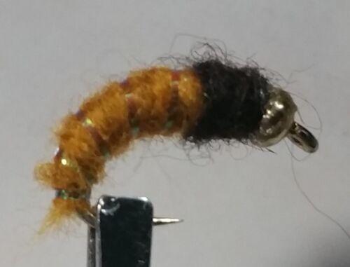1 Douzaine-BH Caddis Larva Rust-Nymphe Mouillé Mouche-truite