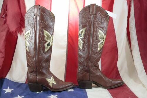 Stivali JUSTIN (Cod.ST2342) usato N.5 1/2 donna cowboy pelle vinaccio