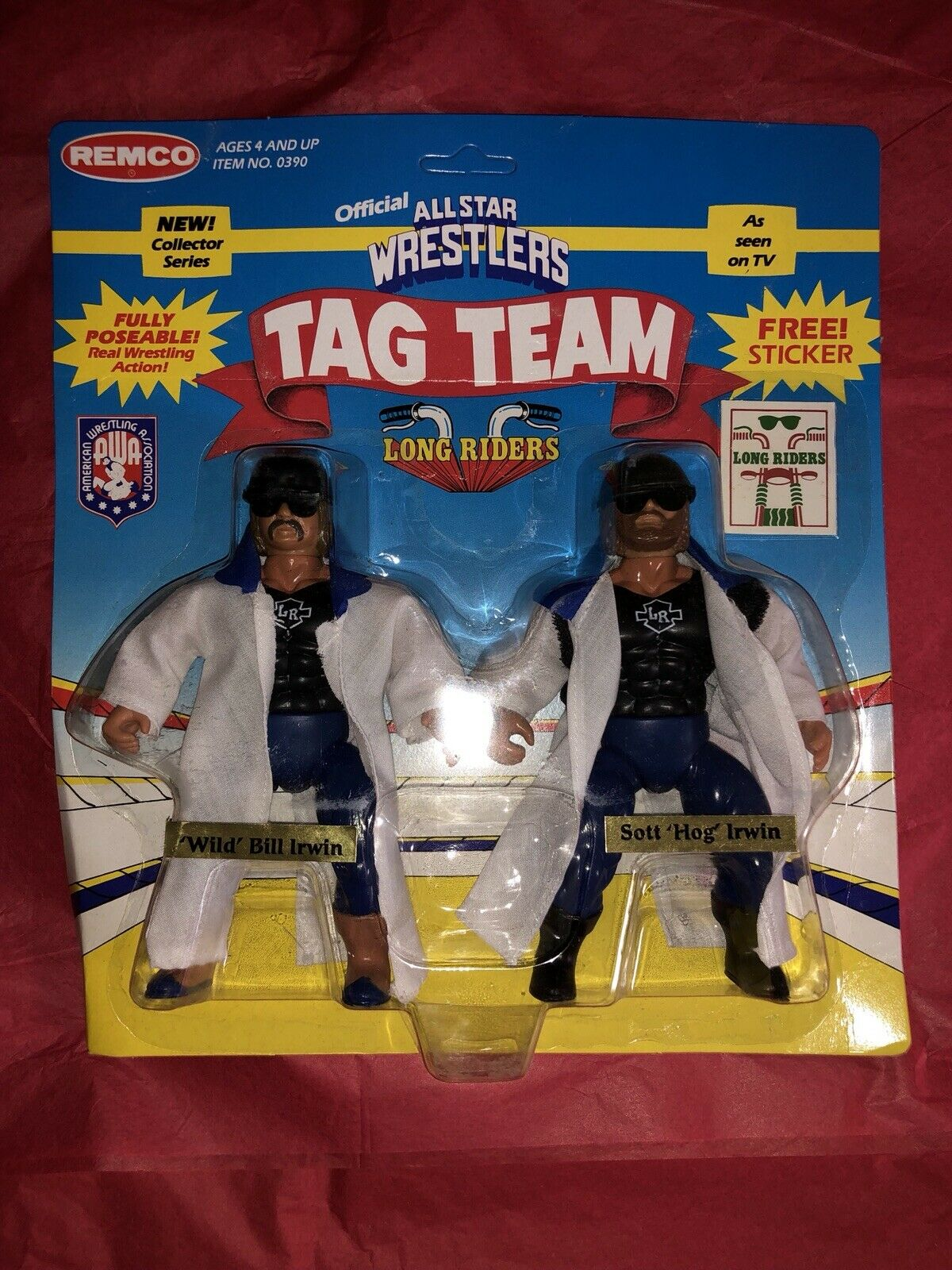1985 REMCO AWA The Long Riders WRESTLING ACTION FIGURE Tag Team Moc Unpunched
