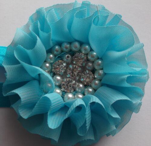 accessoires nourrisson Baby girl grande fleur perle Bandeau Cristal //