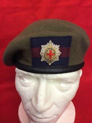 Size 59cm Scots Guards Beret Silk Lined Scots Guards Beret Badge