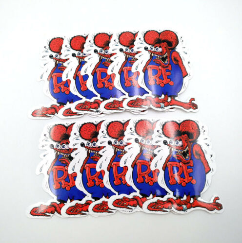 Red Rat Fink Vinyl Decal Ed Roth Bicycle 10pcs Big Daddy Bumper Stickers