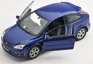 BLITZ-VERSAND-Ford-Focus-ST-blau-blue-Welly-Modell-Auto-1-34-NEU-amp-OVP