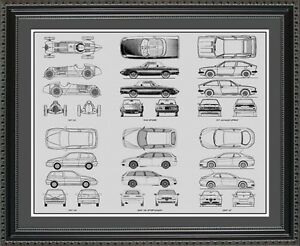Blueprint art alfa romeo collection car artwork gift print image is loading blueprint art alfa romeo collection car artwork gift malvernweather Choice Image