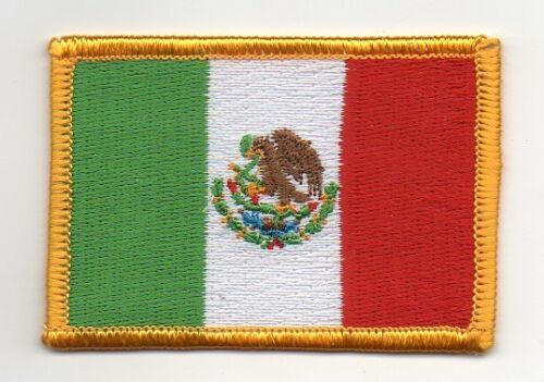 """MEXICO Flag IRON-ON Embroidered Patch  2/"""" X 3/""""  crest badge"""